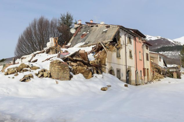 Houses of farmers destroyed by the earthquake near Amatrice on February 1, 2017. The area of Amatrice is coping with the snow and with the aftermath of an earthquake in August that killed nearly 300 people. In Amatrice hundreds of animal were injured and killed when the stables collapsed during the earthquakes of these last five months. And these last weeks central Italy experienced the worst snow in more than 50 years. Some 3,000 farms are said to be in danger across central Italy, in the regions of Lazio, Marche, Umbria and Abruzzo. More than 90 percent of the farms are family holdings. The farmers are living in caravans without electricity or hot water, their homes were badly damaged in the first wave of earthquakes in August 2016. In many villages farmers are still waiting that the government provide a shed they can give the cows shelter. Photo by Eric Vandeville/ABACAPRESS.COM 581130Farmers of Amatrice Are Coping With Snow And The Aftermath Of Earthquakes - ItalyAmatrice, la lenta ripresa degli agricoltori dopo il terremoto e l'abbondante neveLaPresse  -- Only Italy